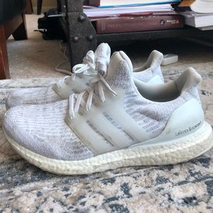 White Adidas Ultraboost gym shoes Size 8